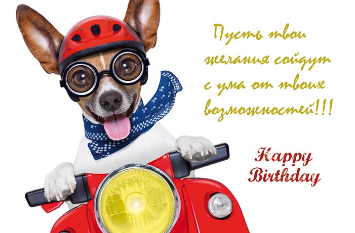 Happy Birthday Russische Karten  Doppelkarte LU 1236